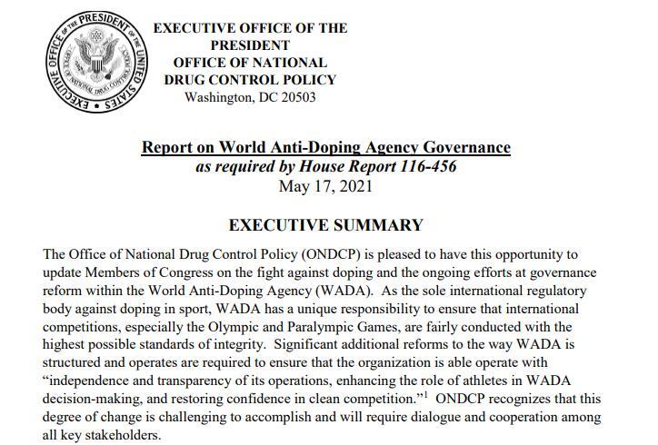 5月17日白宫国家药物管制办公室向国会提交的报告截图