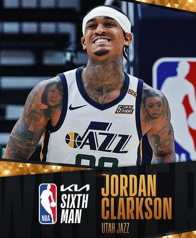 NBA:爵士后卫克拉克森当选本赛季最佳第六人