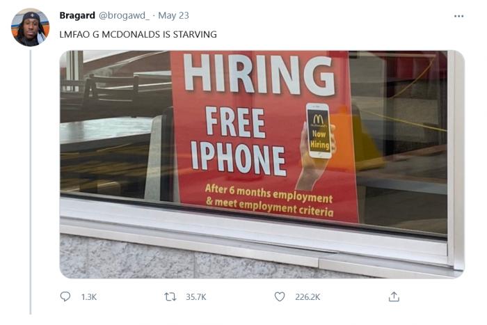 涨工资都招不到人 美国一麦当劳出奇招:免费送iPhone手机