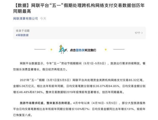 """""""五一""""网联处理跨机构网络支付交易金额5.06万亿元"""
