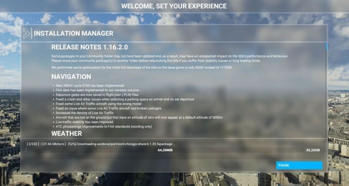 微软飞行模拟器新补丁 初始包容量从170GB降到83GB