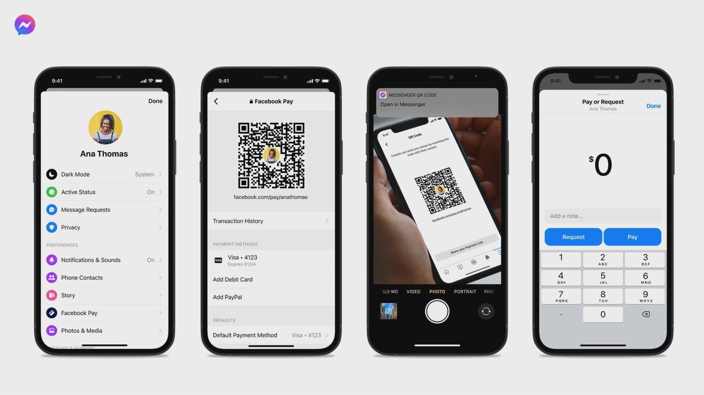 Facebook Messenger增加二维码支付功能 用于个人小额付款