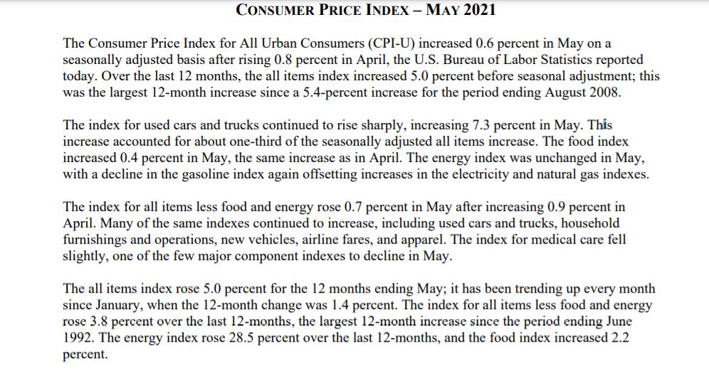 美国通胀数据近13年来首度触及5%高位 为何对市场负面影响有限?