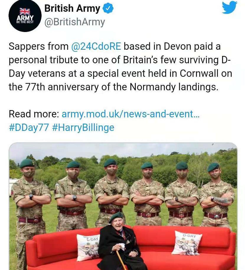 和成人片女演员照片构图相似?英国陆军推特发幸存老兵图引争议