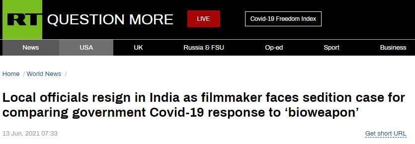 """将政府抗疫措施比做部署""""生化武器"""",印度电影制作人被起诉"""