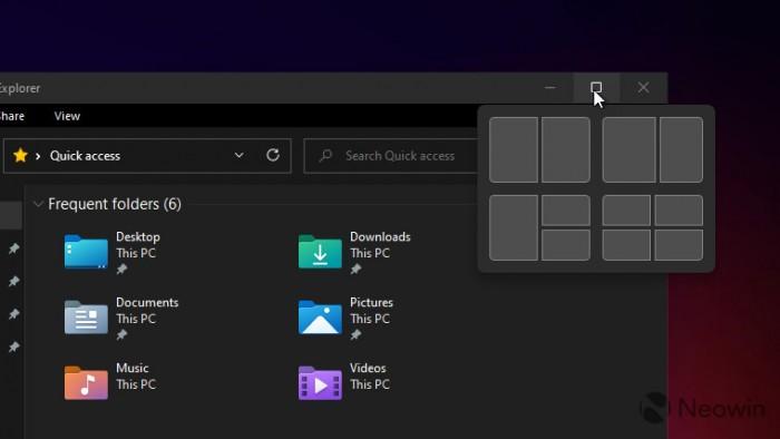 Windows 11 窗口标题栏最大化按钮引入全新收纳整理功能