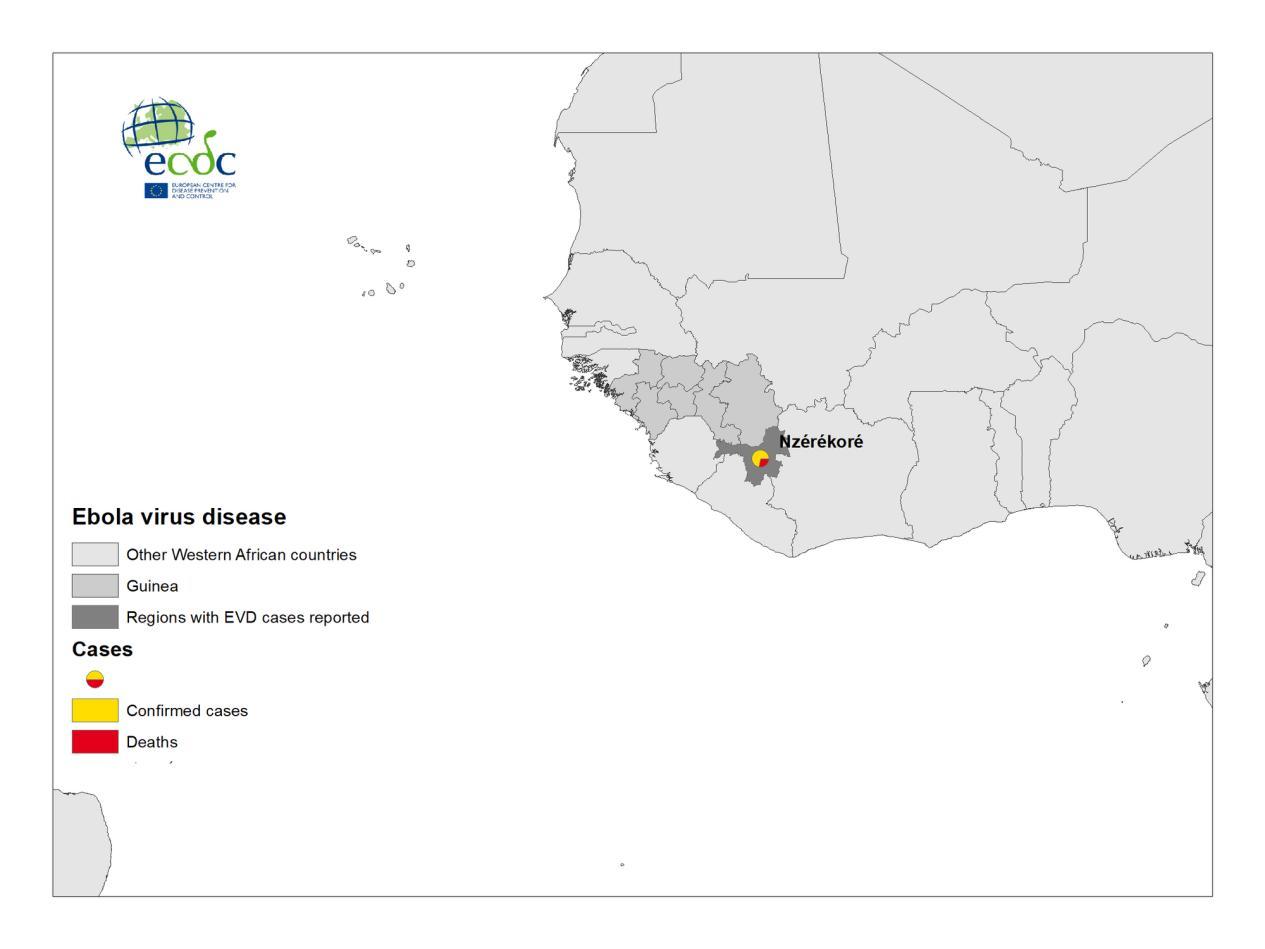 △出现埃博拉病例的几内亚东南部恩泽雷科雷省位置图。