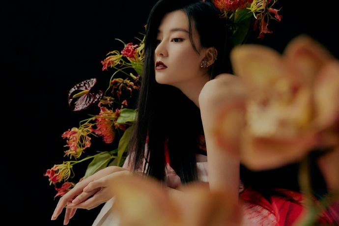 乔欣最新美照曝光 一袭红色印花长裙氛围感十足