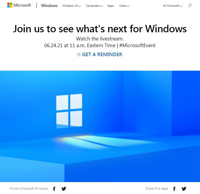 微软放出6月24日下一代Windows发布会预约提醒链接 或有音频新品