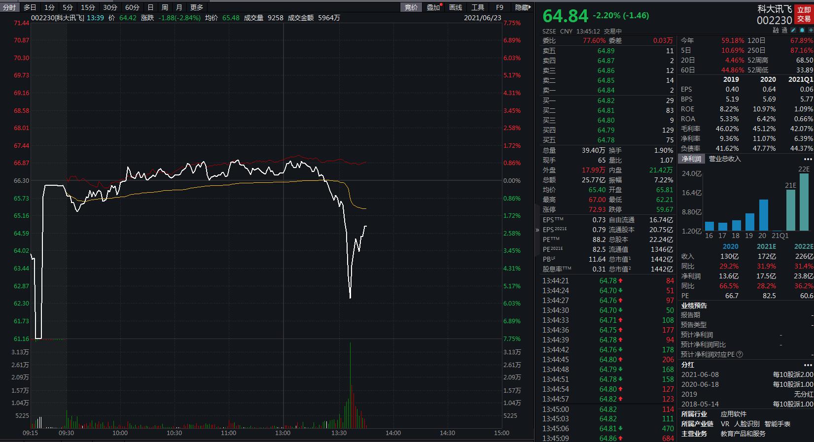 科大讯飞股价午后跳水,一度跌超5%