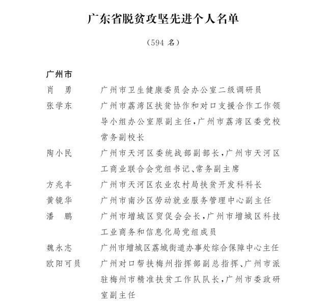 广东省委省政府表彰全省脱贫攻坚先进个人和先进集体