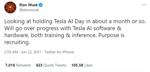 马斯克:特斯拉将举办AI日,希望招揽更多人才