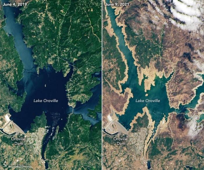美国加州遇1976-77年以来最严重旱灾 卫星图显示当地水库对比情况