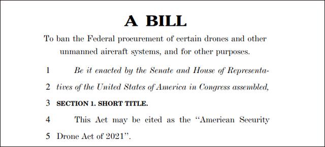 《美国安全无人机法案》草案截图