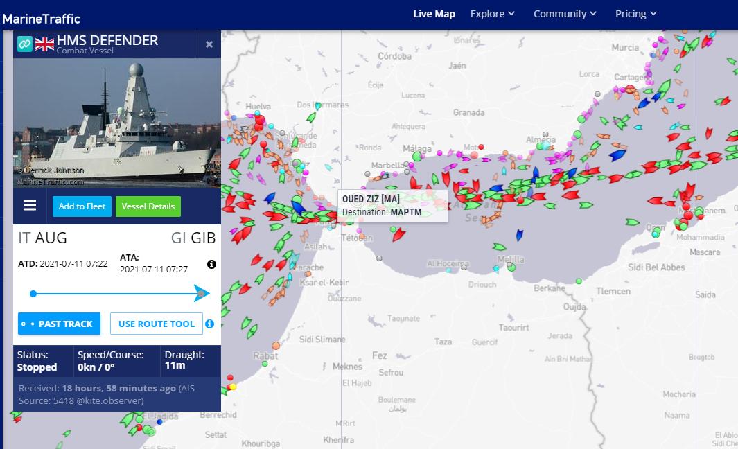 """英国""""卫士""""号7月11日位于直布罗陀港内信息截图"""