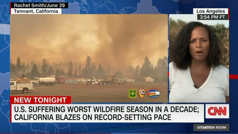 △美国有线电视新闻网6月29日报道:美国正经历十年以来最严重的山火季,加利福尼亚州大火以创纪录的速度蔓延