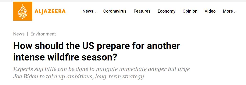 △ 半岛电视台报道《美国应该如何应对又一个山火季?》