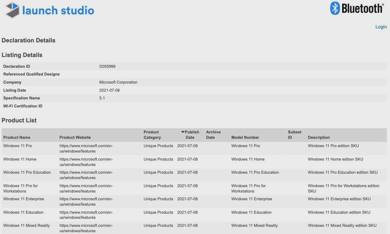 Windows 11 完整SKU列表现身蓝牙认证库:一共有7个版本