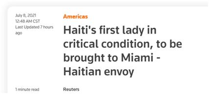 海地駐美大使:海地第一夫人還活著,被送往美國救治
