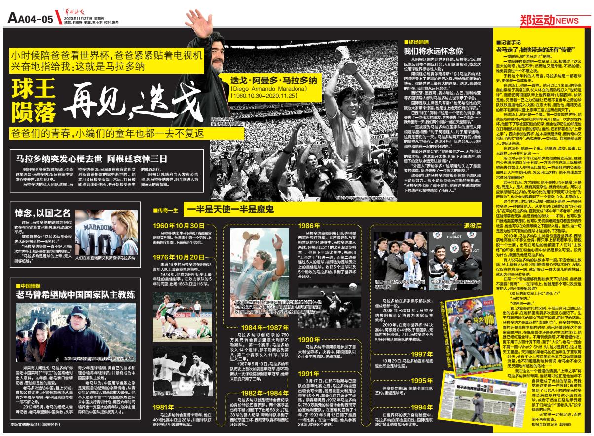 中国各大报纸整版缅怀马拉多纳