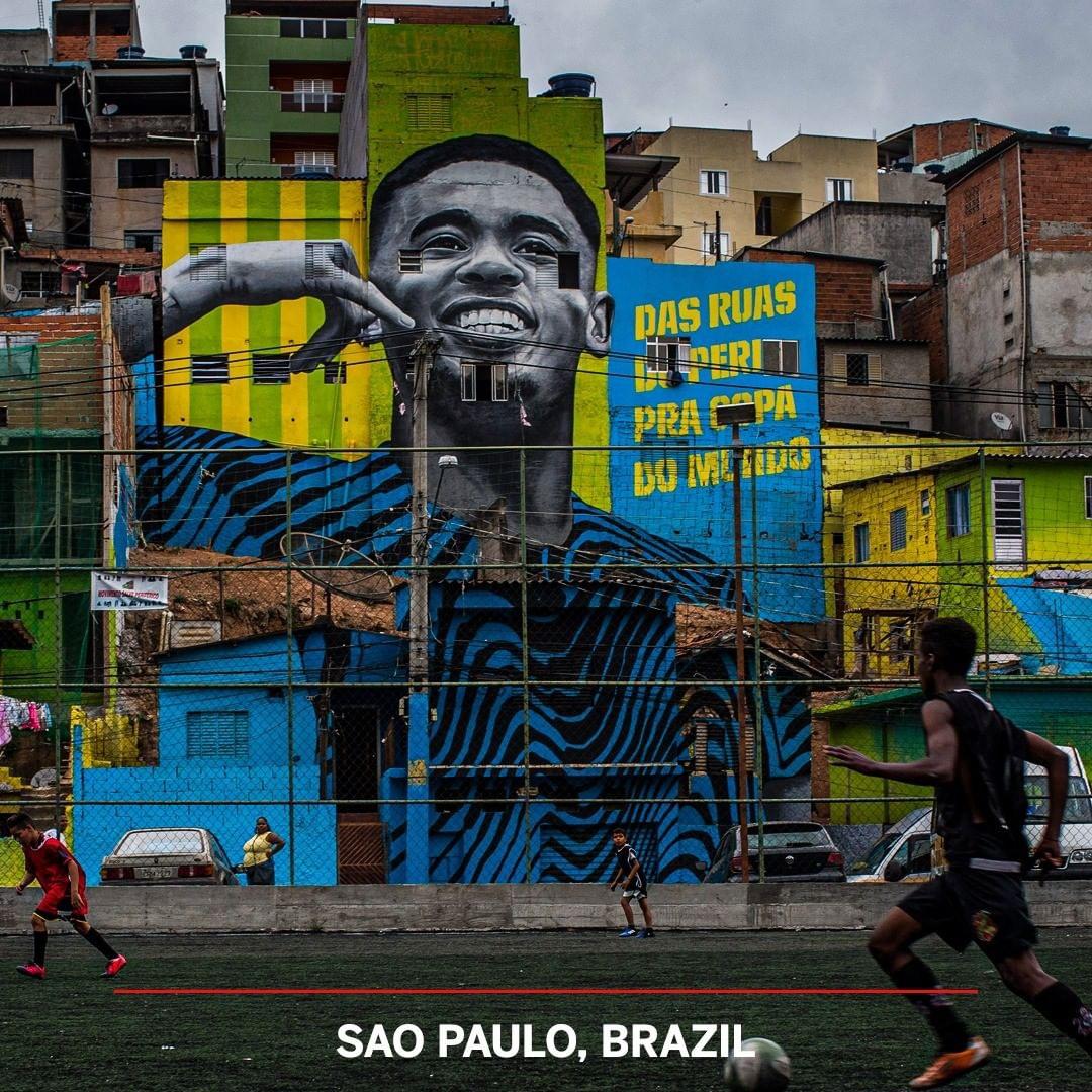世界各地足球涂鸦墙欣赏 梅西贝克汉姆成信仰偶像