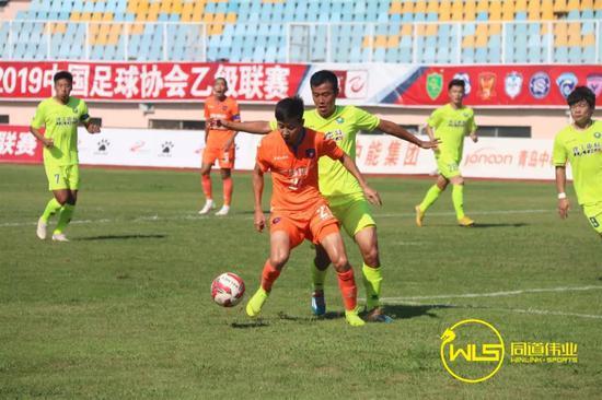 34分鐘,青島中能,19號李鑫進球,1-0