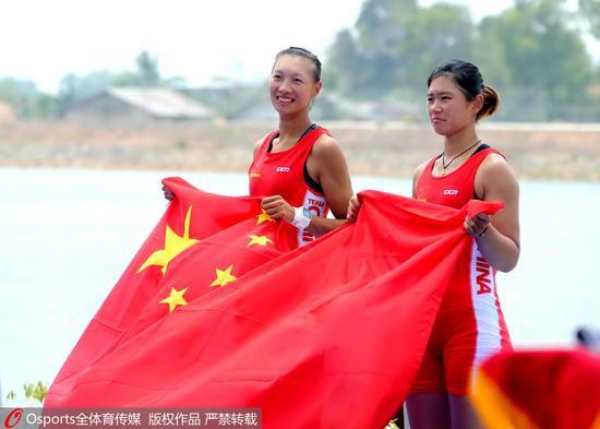 2018年雅添达亚运会,赛艇女子双人单桨无舵手,中国组相符巨蕊/林心玉夺冠
