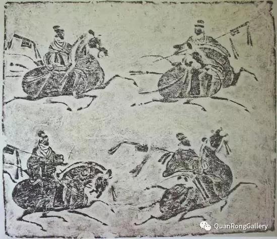 汉代的画像砖《四骑吏綮戟图》