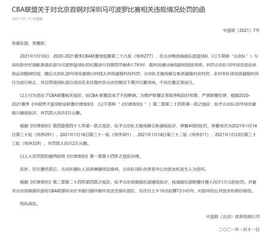 北京队罢赛后续来了!CBA公布处分结果!