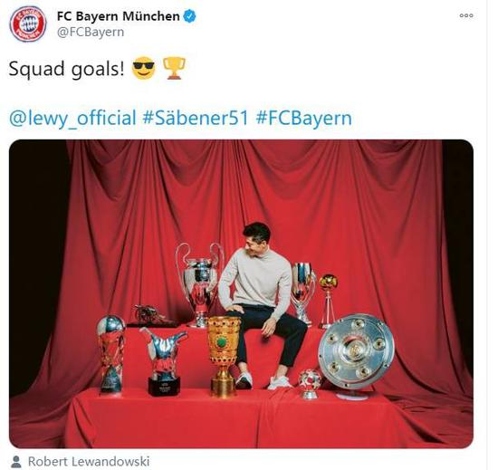 球队目标!拜仁晒出莱万与本年赢得9座奖杯合影