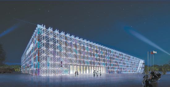 五棵松冰上运动中心夜间亮灯效果图。
