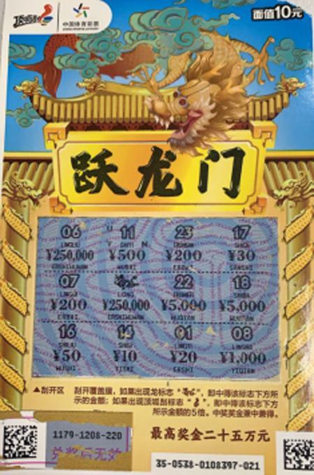 """年輕人刮中體彩""""躍龍門""""25萬 送愛妻當禮物-票"""