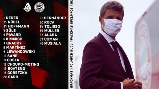 拜仁欧冠大名单:格纳布里回归 萨内顺畅当选