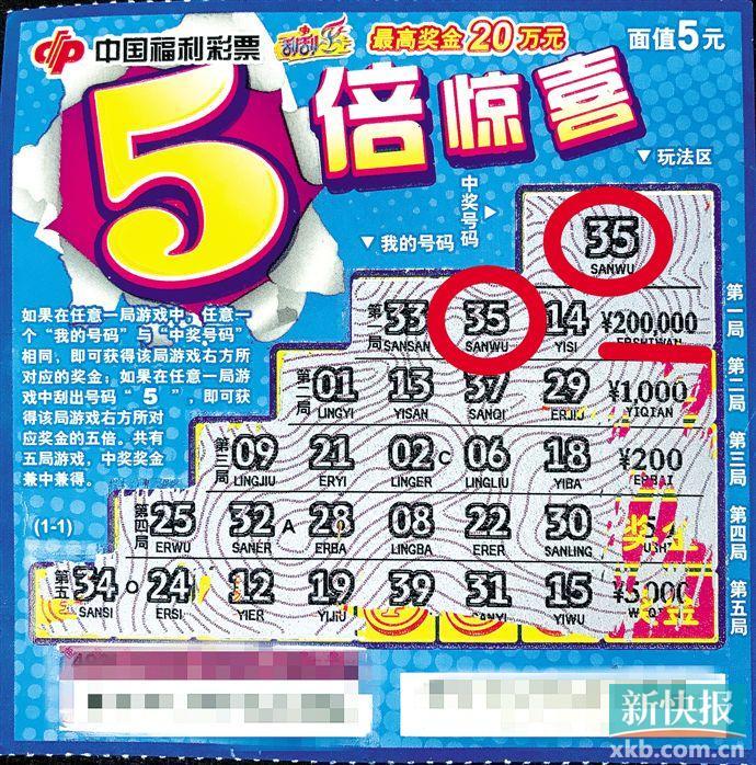 """95后男子刮中福彩""""五倍驚喜""""20萬:打算還車貸-票"""