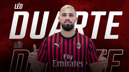 AC米兰宣布24岁杜阿尔特租借土超 仅出场9次5次首发