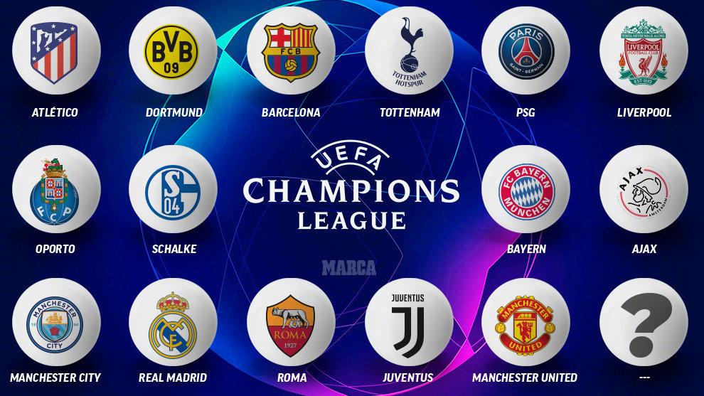 欧冠16强定15席 仅剩一席