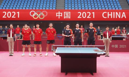 国乒热身赛团体开战 东京奥运阵容获两连胜