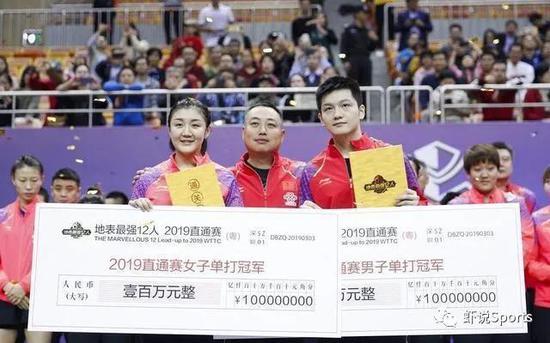 2019年该赛事首度引进奖金制,第别名的陈梦和樊振东别离乐纳100万