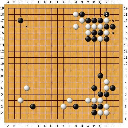 变化图3:实战44如在本图虎酥软,黑2打后,白棋再也无法走到A跟B的交换了。