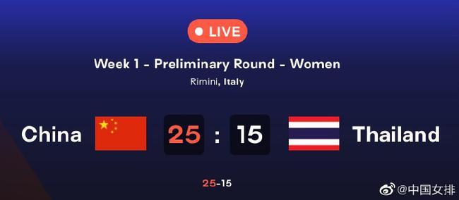 中泰第二局中国女排25-15再下一城 大比分2-0领先