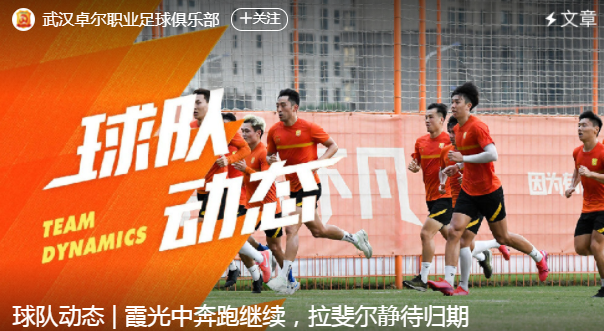 武汉队官方:球队正式集训 拉斐尔今日返回中国