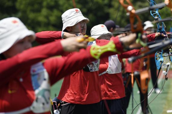 射箭项目东京奥运会模拟赛 决出男女个人16强