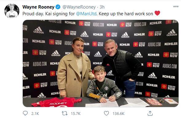 子承父业!鲁尼宣布儿子签约曼联 参加红魔青训