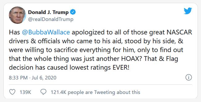 特朗普的这条推特因不明因为已被删除