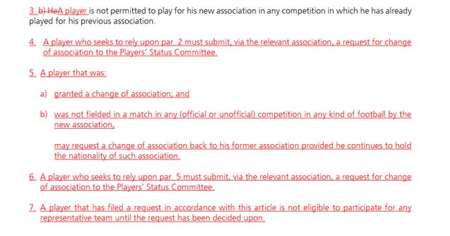 【博狗体育】FIFA或将修改归化球员条例 蒋光太特谢拉符合草案