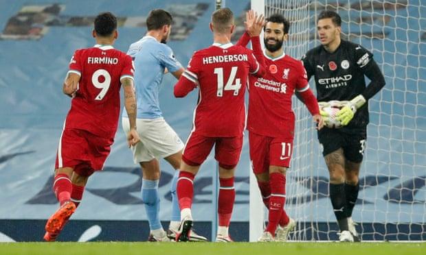 英超-萨拉赫进球 丁丁助攻却丢点 曼城1-1利物浦