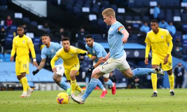 英超-德布劳内传射 斯特林进球 曼城半场2-0领先