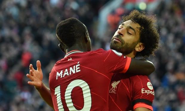 英超-萨拉赫传射 德布劳内救主 利物浦2-2平曼城