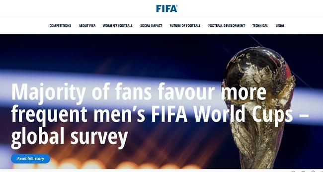 国际足联:民调显示大部分球迷支持世界杯改2年一届