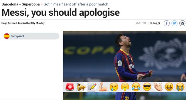 马卡报赛后批评梅西:他应该抱愧